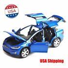 USA 1:32 Diecast Tesla Model X 90D Model Car Luminous Pullback Blue Color