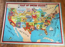 VINT PRE WAR PRATT & MUNK CO. TRAY PUZZLE #630 MAP OF US PRODUCTS RESOURCES