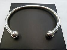 New Heavy Solid Sterling Silver.925 Gent's Torque Bangle 32 grams - 10mm balls