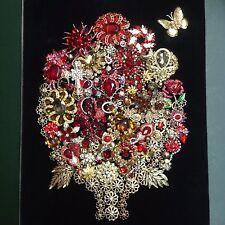 Vintage Rhinestone Jewelry Christmas Tree Framed Art Flower Bouquet Shadowbox