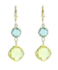 14K Yellow Gold Gemstone Earrings With Lemon And Blue Topaz
