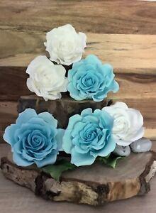 6 Single SugarRose's  In Blue/white.Wedding/celebration Cake Decoration/topper