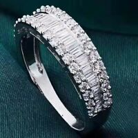 1Ct 100% Natural 14K White Gold Baguette Round Cocktail Diamond Band Ring RU25