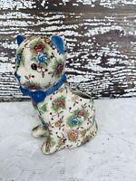 Vtg Cat planter floral design stitching blue bow Japan crazing animal collection