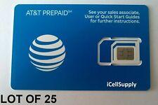 New listing Lot Of 25 Brand New At&T Prepaid At&T / Att 4G Lte Triple Sim Card 3 In 1