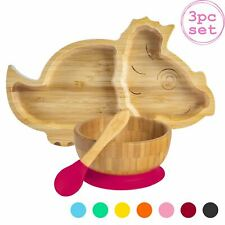 Children's Bamboo Dinosaur Plate, Bowl, Spoon & Suction Cups Eco-friendly Red