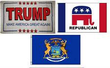 3x5 Trump White #2 & Republican & State Michigan Wholesale Set Flag 3'x5'
