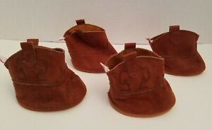 4 Build a Bear Work Shop Cowboy Boots Western Brown Shoes for Horse Pony