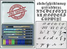 Calligraphy Letters Pen Set Metal Case Ink Cartridge Practice Pad Paint Draw Kit