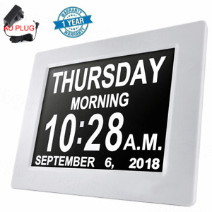8'' LED Large Digital Day Clock Calendar Dementia Date Week Month Year Time Wall