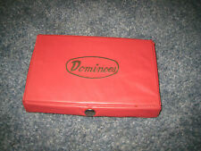 Vintage DOMINOS Double Sixes 28 pieces in Red Vinyl Snap Case