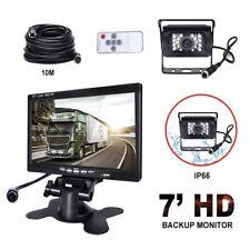 7 inch Car Rear View Monitor LCD Parking Display + Reverse Backup Camera 12V/24V