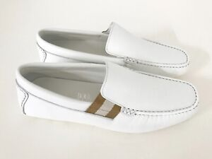 Gucci Homme Luxe Chaussures Mocassins Logo Bandes Blanc Eu 41/7 Neuf