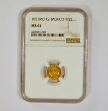 1857Mo Mexico Gold 1/2 Escudo graded MS61 by NGC