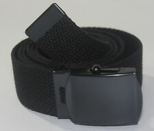 "NEW ADJUSTABLE WAIST 36"" to 38"" CANVAS MILITARY WEB BLACK BELT BUCKLE STRAP 47"""