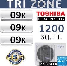 ENERGY STAR Tri Zone Ductless Mini Split Air Conditioner, Heat Pump: 9000 x 3