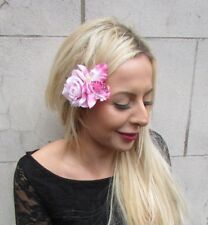 Double Baby Light Pink Rose Orchid Flower Hair Clip Fascinator Tropical Vtg 6811
