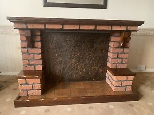 Brick And Mahogony Wood 1980s Fireplace Fire Surround Made in England Heavy Item