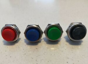 Momentary switches X 4 assorted  black blue green red  OFF-ON 12 VOLT 10 AMP