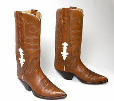 Classic Vintage Tall Brown Cowboy Boots Mule Ears - Mn's Sz 8-1/2D Stovepipe Top
