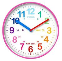 Teaching Time Wall Clock, Pink - ACCTIM