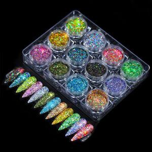 12x Holo Glitter Mix Nailart Glitzer Set Pailetten Bunt Nails Modellage Unicorn