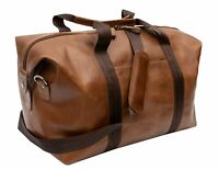 Prime Hide UK British Brown Luxury Leather Holdall Travel Bag Men's Duffle