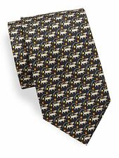 NWT Men's Authentic Salvatore Ferragamo Black Dog & Leash Print Silk Tie $190
