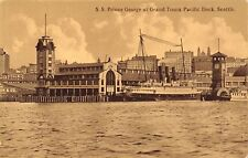 Seattle Washington~Grand Trunk Pacific Dock~SS Prince George Steamer~1909 Sepia