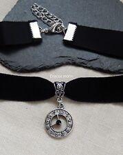 Black Velvet Choker/Necklace Clock/Watch Face Rhinestone Pendant Steampunk UK