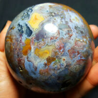 726.8G Natural Colorful RARE Polished Ocean Jasper Crystal BALL Madagascar 2077+