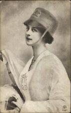 Beautiful Woman in Military Hat - Italian? c1910 Postcard