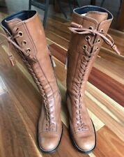 Mui Mui Retro Funky Lace up TAN Leather Boots. Size 36.5