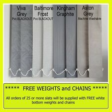 """*From 99p* Vertical blind SLATS louvres - Grey 3.5"""" plain / washable or blackout"""
