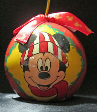 Disney Mickey Mouse Red Christmas Ornament Plastic Bulb Ball Holly Garland