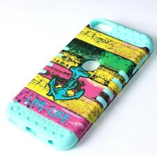 For iPod Touch 5th 6th Gen - HARD & SOFT RUBBER HYBRID SKIN CASE COLORFUL ANCHOR
