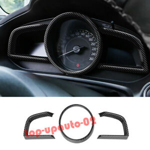 For Toyota Yaris 2019 2020 Carbon Fiber Style Dashboard Frame Cover Trim 3pcs