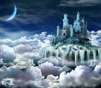 fantasy Castle Waterfall Ship Clouds Landscape Wall Art Poster & Canvas Pictures