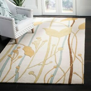 Beige Traditional Floral Oriental Area Rug Hand-tufted Classic Carpet 5x8