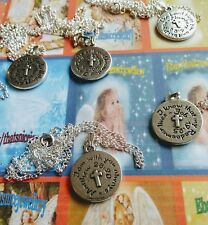 Religious Gift Choice of Biblical Verse Quotes Round Charm + Silver Necklace
