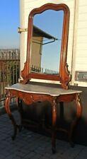 Console antica con specchio - marmo originale - Luigi Filippo - Noce - XIX sec.