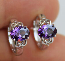 18K White Gold Filled - Noble Oval Amethyst Hollow Vine Cocktail Lady Earrings