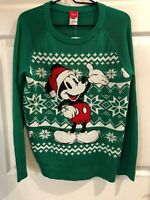 Disney Mickey Mouse Christmas Holiday Green Sweater Men Size