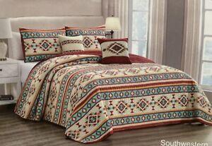 Quilt 3, 5 Piece Reversible Southwest Aztec Lodge Bedspread Set Queen King Gift