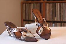 Beverly Feldman Multi Color Embossed Snakeskin 3.5 Inch Wedge Heels Size 9 M