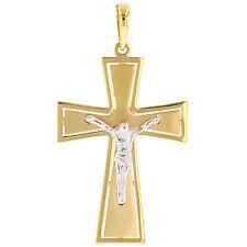 Solid 14k Gold Polished Religious Large Cross Pendant Large Cross Jesus Charm