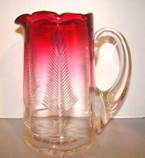 Victorian Rubina Rubena Cranberry Glass Pitcher w/ Cut Trees