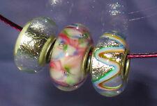 Metallic Murano Glas Perlen Beads Kette Silber durchgehende Hülse Charm Halsreif