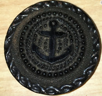 antique black glass nautical ANCHOR Navy button metal back no shank