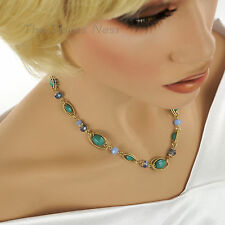NAPIER Textured GOLD Tone OVALS with MULTI-COLOR Beads NECKLACE